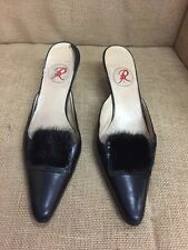 Renaud Pellegrino Black Leather and Fur Mule Heel Women's Size 39.5