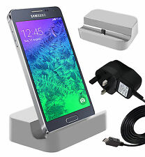 White Micro USB Desktop Charging Dock & Mains Charger For Samsung Galaxy S6 Edge
