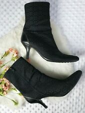 Coach Boots Size 8.5 Signature Black Boots Booties Pointed Toe womens *Flawed*