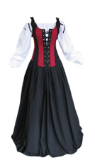 Halloween Costume Medieval Dress Renaissance Wench Corset Bodice Pirate Gown