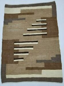 Vintage Handmade Traditional Oriental Grey Black Brown Kilim Rug Carpet 138x96cm