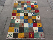 Old Traditional Hand Made Persian Oriental Gabbeh Rug Wool Colourful 160x110cm