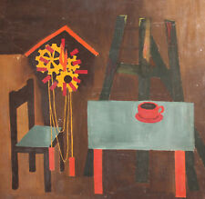 Vintage European oil painting still life with tripod and table