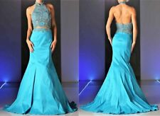 NWT Aqua Blue Embellished 2pc Prom Pageant Evening Top Skirt Dress Gown Size 4