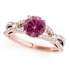 0.77 Ct Pink Diamond Solitaire Ring Stunning 14k RG Valentine Day Spl.Sale
