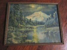 "Vintage Fred Ogden Cabin Lithograph Picture 14 1/2"" x 11 3/4"" Antique Wood Frame"
