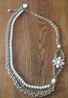 Lia Sophia GRACE Gold Tone Faux Pearl Triple Strand Floral Long Necklace NWT!