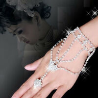 Elegant Chic Jewelry Rhinestone Hand Bangle Chain Link Finger Ring Bracelet