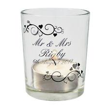 Personalised Glass Votive Tea light Candle Holder - Wedding Gift