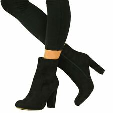 Womens Closed Block Heel Shoes BOOTS Ankle Zip Suede Side High Faux Sizes 3-8 Black UK 6