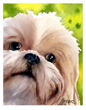 """SHIH TZU"" Watercolor Dog ART Print Signed by Artist DJR"