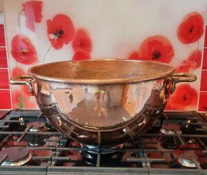 "HUGE COPPER Candy Apple Butter Jam Kettle Pot Cauldron RIVETED BRASS Handles 19"""