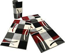 Tris tappeti camera da letto moderno nero rosso scacchi Cuba