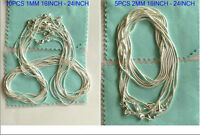 925sterling solid silver snake chain 10PCS 1MM & 5PCS 2MM 16-24inch necklace