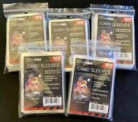 (5) 100 PACK ULTRA-PRO CARD SLEEVES - FITS ALL STANDARD SPORTS & TRADING CARDS