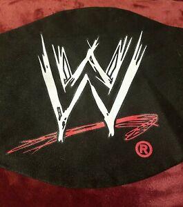 WWF scratch logo BLACK cloth CARRYING bag for TITLE adult SIZE belts ZIPPER
