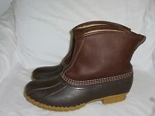 LL Bean Duck Ankle Boots Slip On Lined Insulated Leather USA Womens Size 10 M