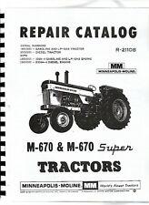 Minneapolis Moline M670 Super M670 Tractor Parts Manual Catalog
