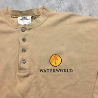 WATERWORLD MOVIE 90s VTG Henley T Shirt Embroidered Promo Cast XL Made USA MCA