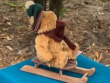 "Vintage Russ SLED Teddy Bear On Sleigh 6"" Plush Stuffed Animal Toy LOW PRICE"