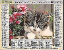 ALMANACH.CALENDRIER DES PTT.1997. CHAT/ TBE. IDEE de CADEAU ANNIVERSAIRE*