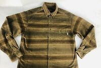 Woolrich Mens Button Down Long Sleeve Striped Flannel Brown Size Large
