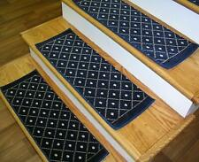 "Navy Blue Stair Treads by Rug Depot Set of 7 Non Slip Carpet Treads 26"" x 9"""