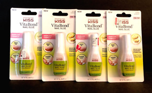 KISS VitaBond Nail Glue Odorless Formula Pink Tint .17oz ea (LOT OF 4) FREE SHIP