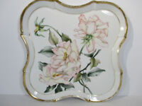 Vanity Tray Hand Painted Pink Roses Porcelain Platter Vintage Scalloped Edge