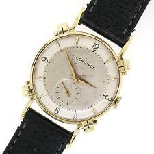 Vintage Men's 14k Yellow Gold Longines Mechanical Wind Fancy Lug Watch 851949