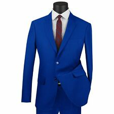LUCCI Men's Royal Blue 2 Button Ultra Slim Fit Poplin Polyester Suit NEW
