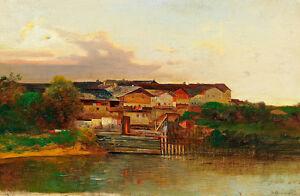 A Weir on the River by Adolf Obermüllner 75cm x 49cm Canvas Print