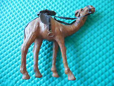 """VINTAGE LEATHER BOUND SOUVENIR CAMEL with SADDLE AND STIRRUPS 7.5"""" tall"""