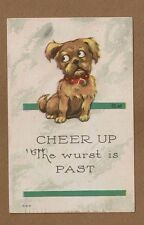 """""""Cheer Up The wurst is past"""" Dog looking apprehensive used 1915"""