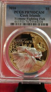 2016 $5 Cook Islands Siamese Fighting Fish .999 Silver Gold Gilt Coin PCGS PR69