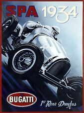 Spa 1934 Bugatti, Retro metal Aluminium Vintage Sign, Gift, garage