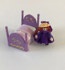 12th Scale Toy doll bed and Doll in Purple.