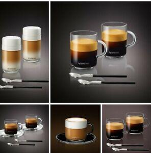 GENUINE BRAND NEW BOXED Nespresso VERTUO RANGE Cups & Saucers plus Spoons