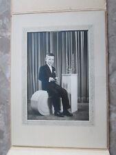 Vintage Old Antique Cabinet Photo Picture 1st Communion Boy Paper Frame