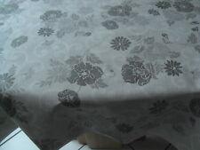 Tischdecke Wachstuch rund 160cm, Grautöne Blüten Abwaschbar