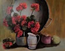 Fine Art Original Mid-Century Oil Painting Floral Geraniums Still Life
