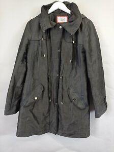 Per Una Stormwear M&S Ladies Charcoal Hooded Padded Parka Jacket Coat UK 10