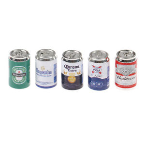 5Pc 1/12 Dollhouse Mini Soda Beer Cans For 1/6 Doll Accessories  Miniature Fosn