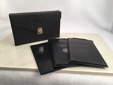 Ihagee Glass Plate Film Holder And Leather Case 3 Film Holders 2.5 X 3.5 Germany