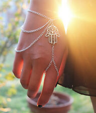 Lucky Bracelet Silver Hamsa Fatima Finger Ring Bangle Hand Harness Slave Chain