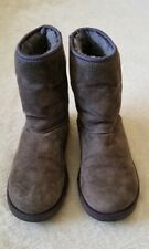 UGGS Dark Gray Classic Short Embellished Swarovski Crystal Bows Boots Size 6