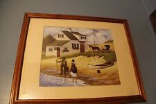 Charles Wysocki Sweet Solitude (?) With Fisherman, Woman, and Shoreline Print