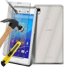 Ultra Durable claro caso la piel de Gel TPU y cristal para Sony Xperia M4 Aqua