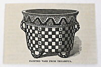 small 1883 magazine engraving ~ PAINTED VASE FROM TENAMPUA, Honduras