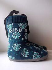 Life Is Good Boot Slipper Socks Womens S ( 5 - 6 ) Rise & Shine Blue NWT T2